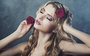 Картинка девушка, цветы, секси, макияж, губы, photographer, личико, очаровательная, Julia Sariy
