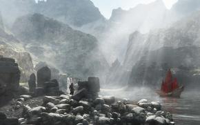 Картинка красный, озеро, камни, скалы, человек, корабль, водопад, парусник, меч, парень, рендер