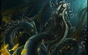 Картинка фентези, змея, арт, цепи, Vitaliy Nikolaev