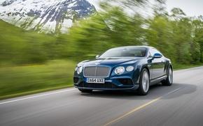 Обои Bentley, 2015, синий, Continental, бентли, континенталь