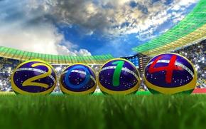Картинка футбол, мяч, стадион, бразилия, чемпионат мира, 2014