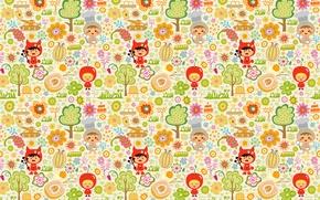 Обои яблоко, костюмы, детский, дети, игрушки, деревья