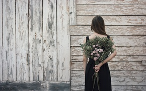 Картинка девушка, цветы, стена