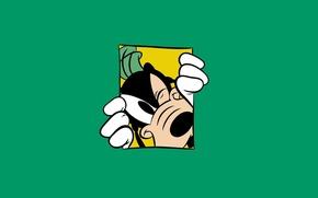 Обои Минимализм, Green, Walt Disney, Уолт Дисней, Goof, Гуфи, Goofy, Зелёный Фон