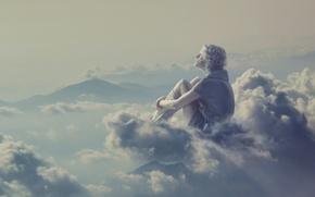 Картинка девушка, облака, задумчивость, креатив, фантазия, блондинка