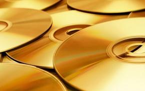 Картинка музыка, обои, диски, золотые