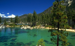 Картинка лес, озеро, камни, California, lake Tahoe