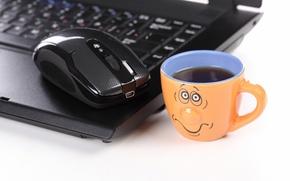 Картинка грусть, креатив, позитив, размытость, мышь, чашка, ноутбук, тоска, notebook, hi-tech, боке, компьютерная, mouse, laptop, wallpaper., …