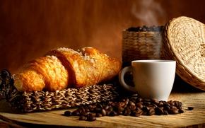 Обои кофе, корзинка, кофейные зерна, аромат, coffee, круассаны, basket, coffee beans, aroma, croissants