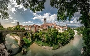 Обои Friuli-Venezia Giulia, Чёртов мост, река, мост, Италия, Devil's Bridge, деревья, панорама, здания, Фриули-Венеция-Джулия, Cividale del ...