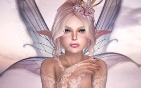Обои цветы, эльф, крылья, фея
