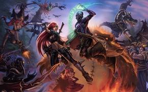 Обои оружие, магия, арт, битва, League of Legends, knockwurst