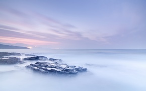 Картинка море, туман, камни, океан, рассвет