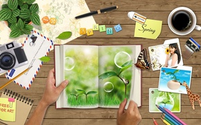 Картинка письмо, цветы, бабочка, кофе, руки
