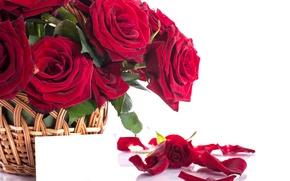 Картинка корзина, романтика, розы, лепестки, red, flower, красивые, beautiful, Roses, lovely, Petals