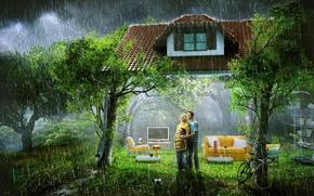 Картинка дом, дождь, семья, гостиная