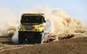 Картинка Песок, Желтый, Пыль, Грузовик, Гонка, День, Rally, Dakar, Передок, Tatra