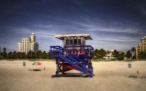 Обои человек, мусор, пляжный зонт, лето, солнечная, спасатель, пляж