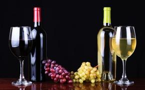 Картинка вино, красное, белое, бокалы, виноград, бутылки, wine, grapes