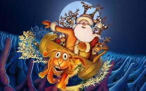 Обои дед мороз, рождество, новый год, олень