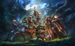 Картинка лес, кот, девушки, магия, арт, парни, League of Legends, Ahri, Morgana