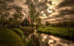 Картинка небо, облака, дом, ручей