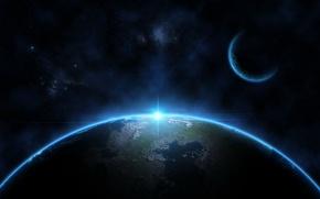 Картинка light, blue, stars, planets