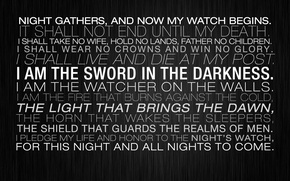 Картинка light, sword, night, walls, live, come, death, guards, Game of Thrones, glory, letters, honor, father
