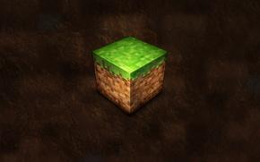 Картинка трава, земля, кубик, minecraft