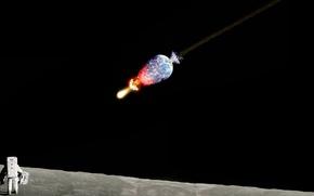 Обои капут, луна, земля, космонавт, метеор, пипец
