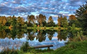 Картинка небо, трава, деревья, природа, озеро, фото, Германия, Laupheim