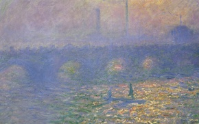 Обои картина, городской пейзаж, Клод Моне, Мост Ватерлоо. Лондон