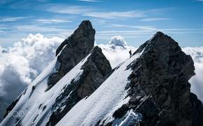 Обои гора, горы, спорт, люди, альпинизм, облака