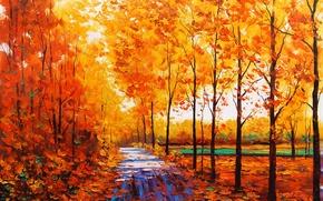 Картинка осень, листья, деревья, природа, желтые, арт, дорожка, artsaus