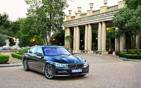 Картинка газон, BMW, дорожка, арка, фонтан, особняк, 730d