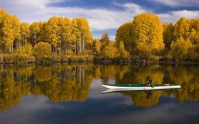 Картинка осень, лес, небо, вода, облака, деревья, отражение, река, лодка, желтые, мужчина, солнечно, байдарка