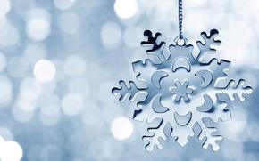 Картинка снежинка, winter, bokeh, snowflake