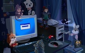 Обои игрушки, ночь, компьютер