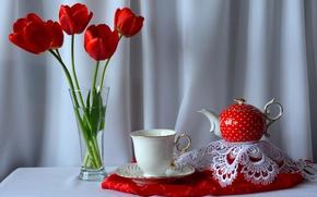 Картинка цветы, стол, букет, чайник, чашка, тюльпаны, натюрморт