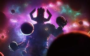 Картинка космос, планеты, злодей, art, marvel comics, galactus
