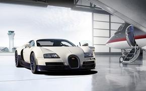 Обои bugatti, veyron, super sport, plane, garage, hangar, бугатти