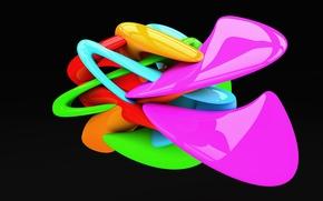 Картинка линии, фигура, изгибы, цветная, чёрный фон