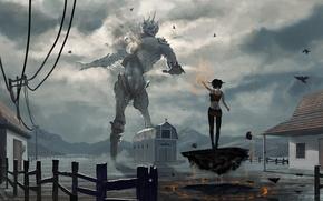 Обои фантастика, арт, гигант, против, ведьмы, giant vs witch, by du1l