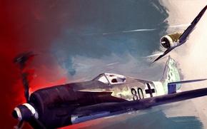 Картинка небо, война, истребитель, бой, стрельба, Арт, американский, Thunderbolt, немецкий, поршневой, одномоторный, Focke-Wulf, WW2, Republic, Wurger, …