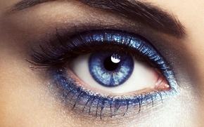 Картинка взгляд, синий, глаз, ресницы, тушь, бровь