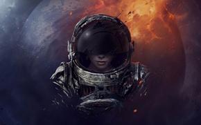 Картинка девушка, космос, планета, шлем, астронавт