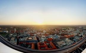 Картинка солнце, крыши, панорама