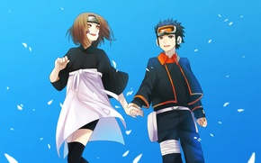 Обои вместе, naruto, anime, art, Obito Uchiha, Rin Nohara, держутся за руки