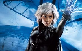Обои молния, Люди Икс, мост, Storm, Ororo Munroe, Halle Berry, Холли Берри, гроза, X-Men