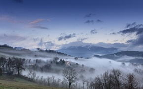 Обои дом, горы, туман, небо, осень, облака